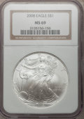 Modern Bullion Coins, 2008 $1 Silver Eagle MS69 NGC. NGC Census: (45573/4346). PCGSPopulation (2575/1247). Numismedia Wsl. Price for problem fr...