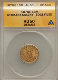 German States:Saxony, German States: Saxony. Albert gold 10 Mark 1878E,...