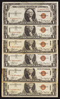 Small Size:World War II Emergency Notes, Fr. 2300 $1 1935A Hawaii Silver Certificates. Six Examples. Fine-Very Fine or Better.. ... (Total: 6 notes)