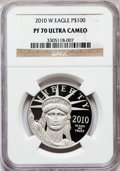 Modern Bullion Coins, 2010-W $100 One-Ounce Platinum Eagle PR70 Ultra Cameo NGC. NGCCensus: (0). PCGS Population (174). Numismedia Wsl. Price f...