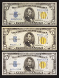 Small Size:World War II Emergency Notes, Fr. 2307 $5 1934A North Africa Silver Certificates. Three Examples. Very Fine or Better.. ... (Total: 3 notes)
