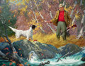 Mainstream Illustration, LOUIS DARLING (American, 1916-1970). Man with English Setter,calendar illustration, circa 1949. Oil on canvas. 22.5 x 2...