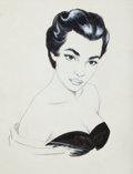 Pin-up and Glamour Art, AMERICAN ARTIST (20th Century). Glamour Shot. Ink andgouache on board. 11.5 x 8.5 in.. Not signed. ...