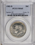 Kennedy Half Dollars: , 1982-D 50C MS65 PCGS. PCGS Population (61/138). NGC Census:(15/48). Mintage: 13,140,102. (#6742)...