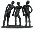 Bronze:Contemporary, Carol Miller (American, 20th century). The Judgment of Paris. 1980's. Bronze. Unmarked. 32-1/2 x 33 x 16 inch...