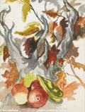 Texas:Early Texas Art - Impressionists, LOLA MUELLER (1889-1949). Untitled Still Life with Fruit and AutumnLeaves. Watercolor on paper. 18 x 13-1/2 inches (45.7 x ...