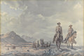 Prints, TOM LEA (1907-2007). Ranger Escort West of the Pecos. Color lithograph on paper. 9-1/2 x 13-3/4 inches (24.1 x 34.9 cm)...