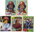 Autographs:Sports Cards, 1978-1981 Mike Schmidt Autographed Card Group Lot of 5. MikeSchmidt, HOF member and a three-time NL MVP Award recipient wit...