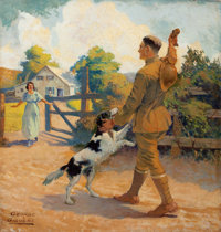 GEORGE GIGUÈRE (American, 20th Century) Homecoming Oil on canvas 26 x 25 in. Signed lower left