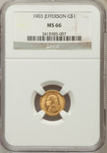 Commemorative Gold, 1903 G$1 Louisiana Purchase/Jefferson MS66 NGC....