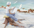 Mainstream Illustration, AL BUELL (American, 1910-1996). Woman Sketching the Coast.Oil on canvas. 20 x 24 in.. Signed lower right. ...