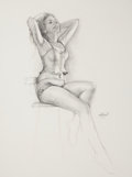 Pin-up and Glamour Art, ED TADIELLO (American, b. 1950). Seated Pin-Up in Lingerie,2011. Pencil and charcoal pencil on paper laid on board. 24...