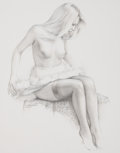 Pin-up and Glamour Art, ED TADIELLO (American, b. 1950). Seated Pin-Up, 2011. Pencilon paper laid on masonite. 14 x 11 in.. Signed lower left. ...