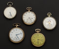 Timepieces:Pocket (post 1900), A Lot Of Five Pocket Watches For Repair Or Parts All Running. ... (Total: 5 Items)