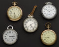 Timepieces:Pocket (post 1900), A Lot Of Five Pocket Watches For Repair Or Parts. ... (Total: 5Items)