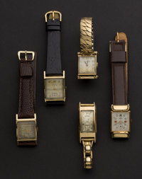 A Lot Of Five Wristwatches For Repair Or Parts