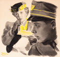Mainstream Illustration, ROBERT W. CROWTHER (American, 1902-1978). Day Shift, TheSaturday Evening post story illustration. Pastel and charcoalo...