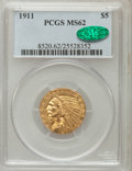 Indian Half Eagles: , 1911 $5 MS62 PCGS. CAC. PCGS Population (2074/1378). NGC Census:(3240/1348). Mintage: 915,000. Numismedia Wsl. Price for p...
