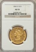 Liberty Eagles, 1843-O $10 AU55 NGC. Variety 2....