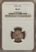 Bust Dimes, 1834 10C Small 4 MS63 NGC. JR-7, R.2....