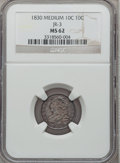 Bust Dimes, 1830 10C Medium 10C MS62 NGC. JR-3, R.3....