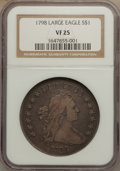 Early Dollars, 1798 $1 Large Eagle, Pointed 9, Close Date VF25 NGC. B-25, BB-123,R.4....