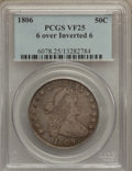 Early Half Dollars, 1806 50C 6 Over Inverted 6 VF25 PCGS. O-112, R.4....