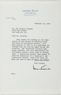Autographs:Celebrities, Norman Cousins (1915-1990, American Journalist). Typed LetterSigned. Near fine....
