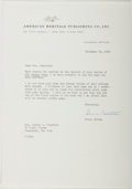 Autographs:Authors, Bruce Catton (1899-1978, American Historian). Typed Letter Signed. Envelope included. Near fine....