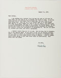 Autographs:Authors, Malcolm Cowley (1898-1989, American Writer). Typed Letter Signed.Envelope included. Near fine....