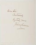 Autographs:Authors, William Bliss Carman (1861-1929, Canadian Poet). Autograph Note Signed. Near fine....