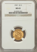 Liberty Quarter Eagles: , 1907 $2 1/2 MS65 NGC. NGC Census: (925/592). PCGS Population(1089/401). Mintage: 336,200. Numismedia Wsl. Price for proble...