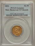 Liberty Quarter Eagles: , 1853 $2 1/2 -- Mount Removed -- Genuine PCGS. VF Details. NGCCensus: (0/1274). PCGS Population (2/823). Mintage: 1,404,668...