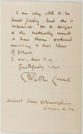 Autographs:Artists, Walter Crane (1845-1915, British Illustrator). Autograph LetterSigned. Very good....