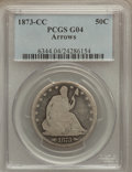 Seated Half Dollars: , 1873-CC 50C Arrows Good 4 PCGS. PCGS Population (11/186). NGCCensus: (1/79). Mintage: 214,560. Numismedia Wsl. Price for p...