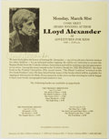 Autographs:Authors, Lloyd Alexander (1924-2007, American Writer). Group of Four Signed Flyers. Fine....