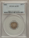 Three Cent Silver: , 1862 3CS AU55 PCGS. PCGS Population (43/987). NGC Census: (10/990).Mintage: 343,000. Numismedia Wsl. Price for problem fre...