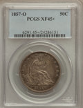 Seated Half Dollars: , 1857-O 50C XF45+ PCGS. PCGS Population (15/51). NGC Census: (6/36).Mintage: 818,000. Numismedia Wsl. Price for problem fre...
