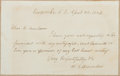 Autographs:Statesmen, William Gannaway Brownlow (1805-1877, American Politician).Autograph Note Signed. Very good....