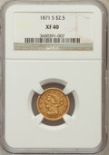 Liberty Quarter Eagles: , 1871-S $2 1/2 XF40 NGC. NGC Census: (7/180). PCGS Population(8/87). Mintage: 22,000. Numismedia Wsl. Price for problem fre...