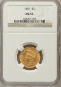 Three Dollar Gold Pieces: , 1857 $3 AU53 NGC. NGC Census: (73/440). PCGS Population (55/150).Mintage: 20,891. Numismedia Wsl. Price for problem free N...