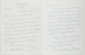 Autographs:Authors, Vincent Godfrey Burns (1893-1979, American Writer). Group of TwoAutograph Letters Signed. Very good....