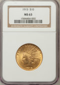 Indian Eagles: , 1915 $10 MS63 NGC. NGC Census: (388/538). PCGS Population(473/333). Mintage: 351,075. Numismedia Wsl. Price for problemfr...