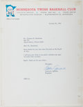 Autographs:Celebrities, [Baseball]. Calvin R. Griffith (1911-1999, Major League Baseball Team Owner). Typed Letter Signed. Very good....