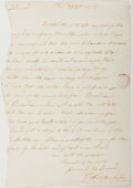 Autographs:Statesmen, Thomas Franklin. Autograph Letter Signed from Franklin to EliasBoudinot. About very good. ...