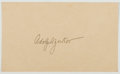 Autographs:Celebrities, Adolph Zukor (1873-1976, American Film Producer). Signed Card.Fine....