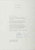 Autographs:Celebrities, William Wyler (1902-1981, American Film Director). Typed LetterSigned. Fine....