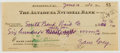 Autographs:Authors, Zane Grey (1872-1939, American Adventure Novelist). Signed Personal Check. Very good....