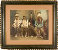 "Photography:Official Photos, Four of the Five Chiefs of the Civilized Nations: A Superb Huge Hand-Colored 19.5"" x 15.5"" Original Photo, Taken at Muscogee, ..."