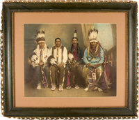 "Four of the Five Chiefs of the Civilized Nations: A Superb Huge Hand-Colored 19.5"" x 15.5"" Original Photo, Tak..."